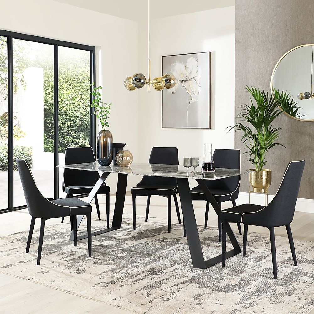Ancona Marble Dining Table with 4 Modena Black Fabric Chairs