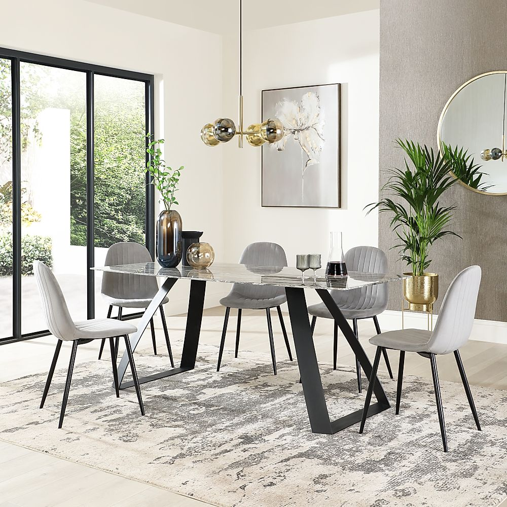 Ancona Marble Dining Table with 4 Brooklyn Grey Velvet Chairs