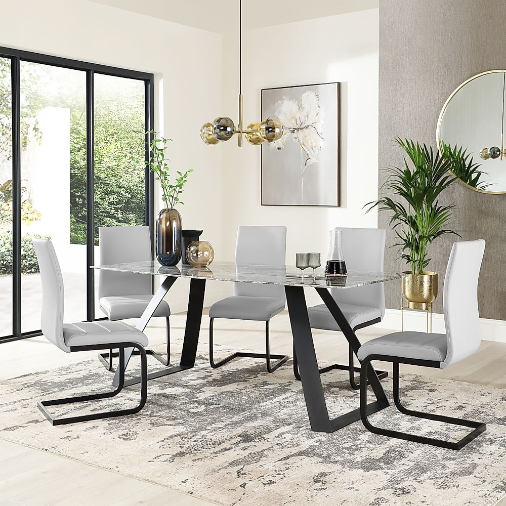 Ancona Marble Dining Table with 6 Perth Light Grey Leather Chairs (Black Legs)