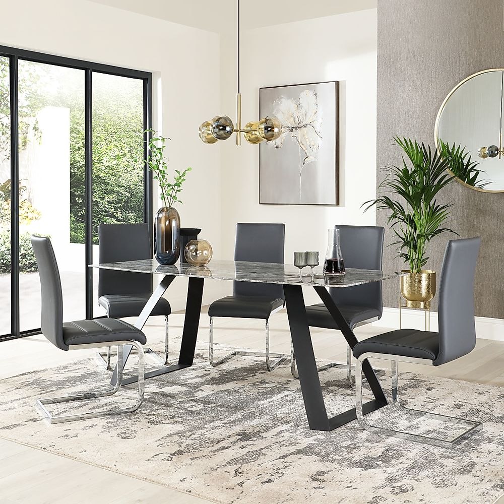 Ancona Marble Dining Table with 6 Perth Grey Leather Chairs