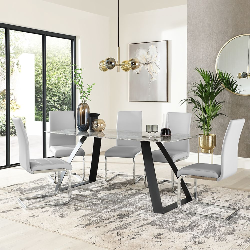 Ancona Marble Dining Table With 4 Perth Light Grey Leather