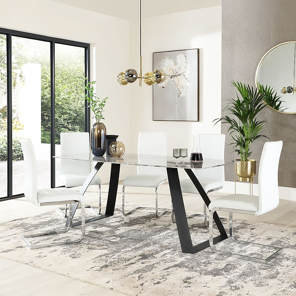 Ancona Marble Dining Table with 4 Perth White Leather Chairs