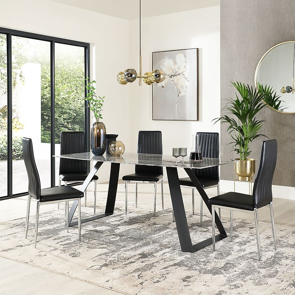 Ancona Marble Dining Table with 4 Leon Black Leather Chairs