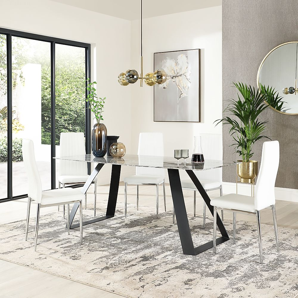 Ancona Marble Dining Table with 4 Leon White Leather Chairs