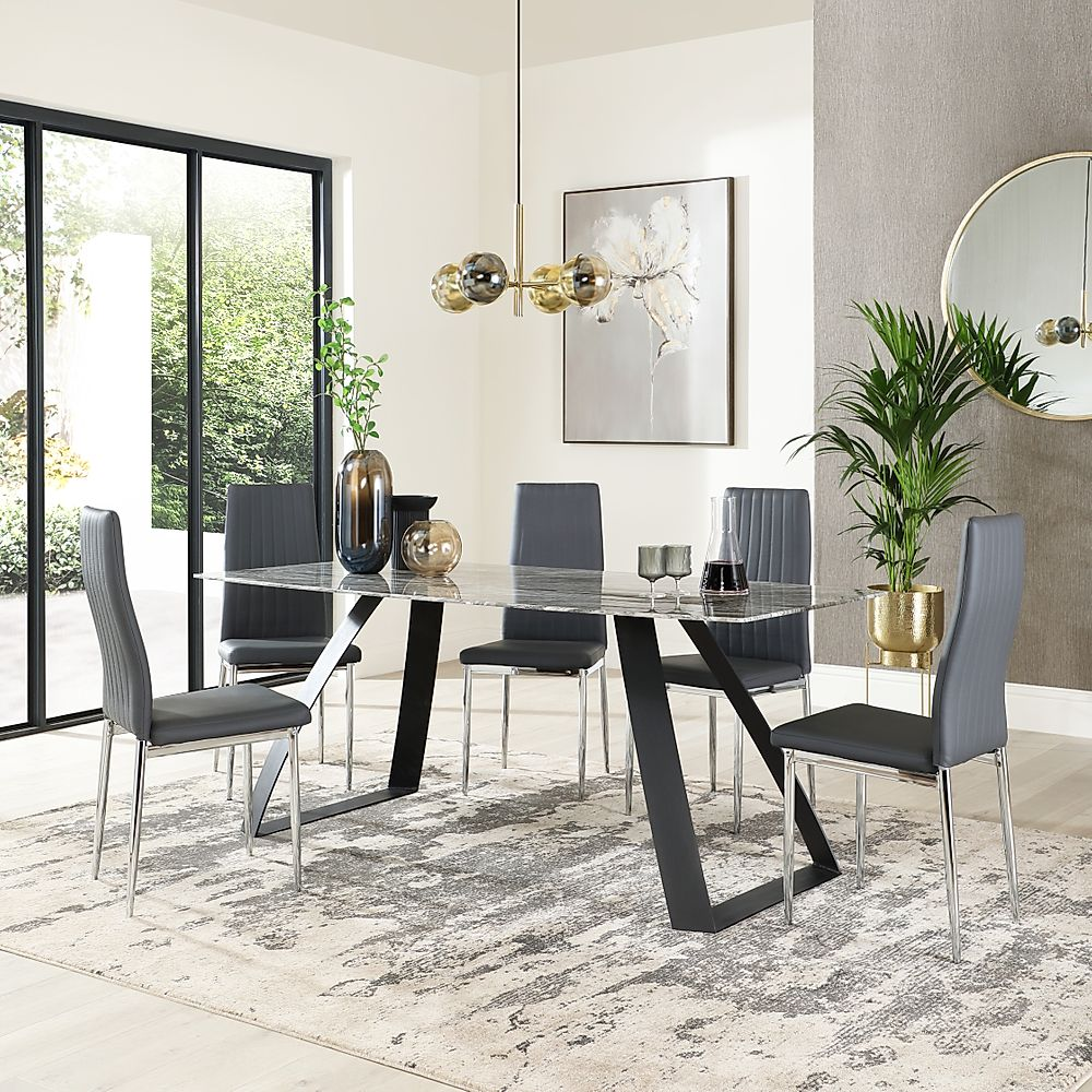 Ancona Marble Dining Table with 4 Leon Grey Leather Chairs