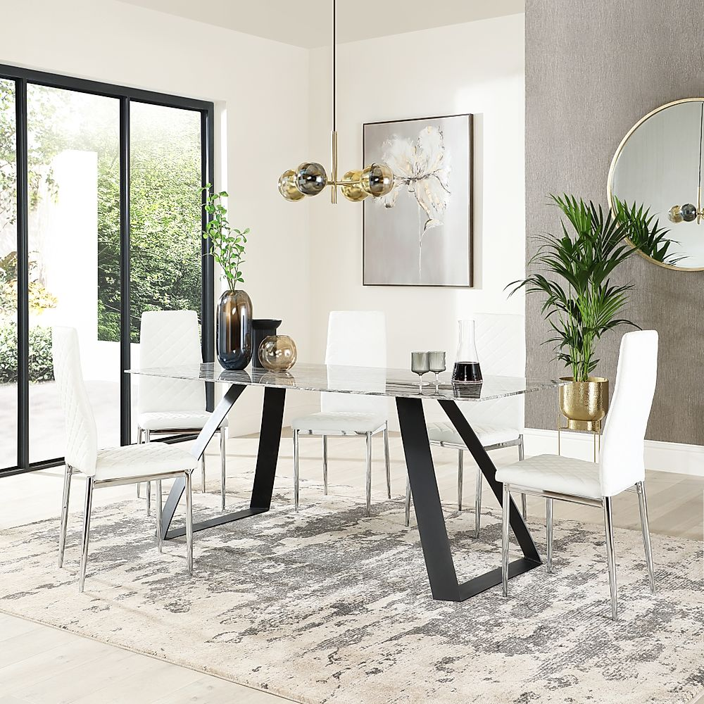 Ancona Marble Dining Table with 4 Renzo White Leather Chairs