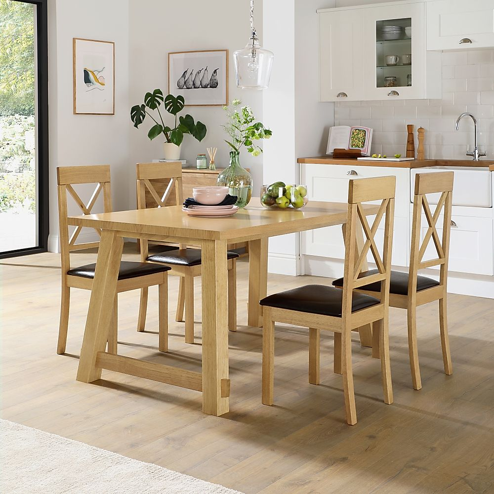Croft Oak Dining Table with 6 Kendal Chairs (Brown Leather Seat Pads)