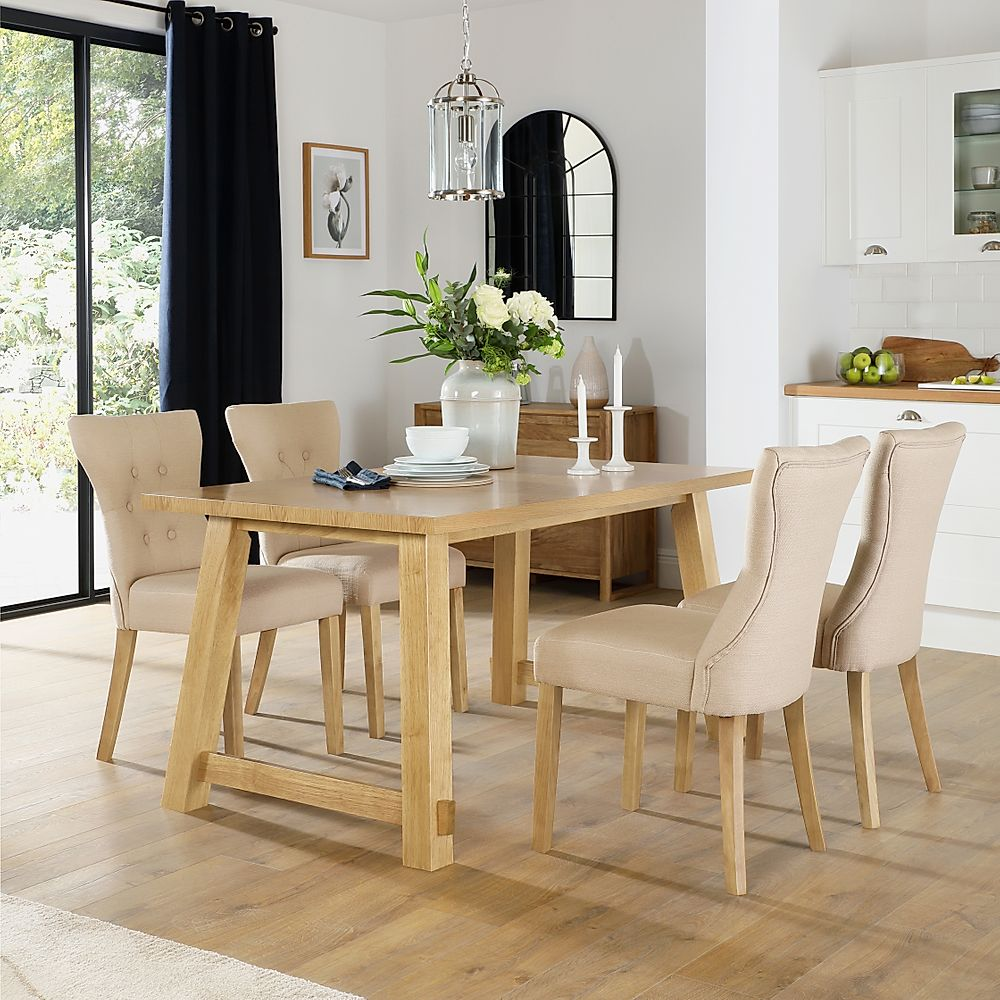 Croft Oak Dining Table with 6 Bewley Oatmeal Fabric Chairs