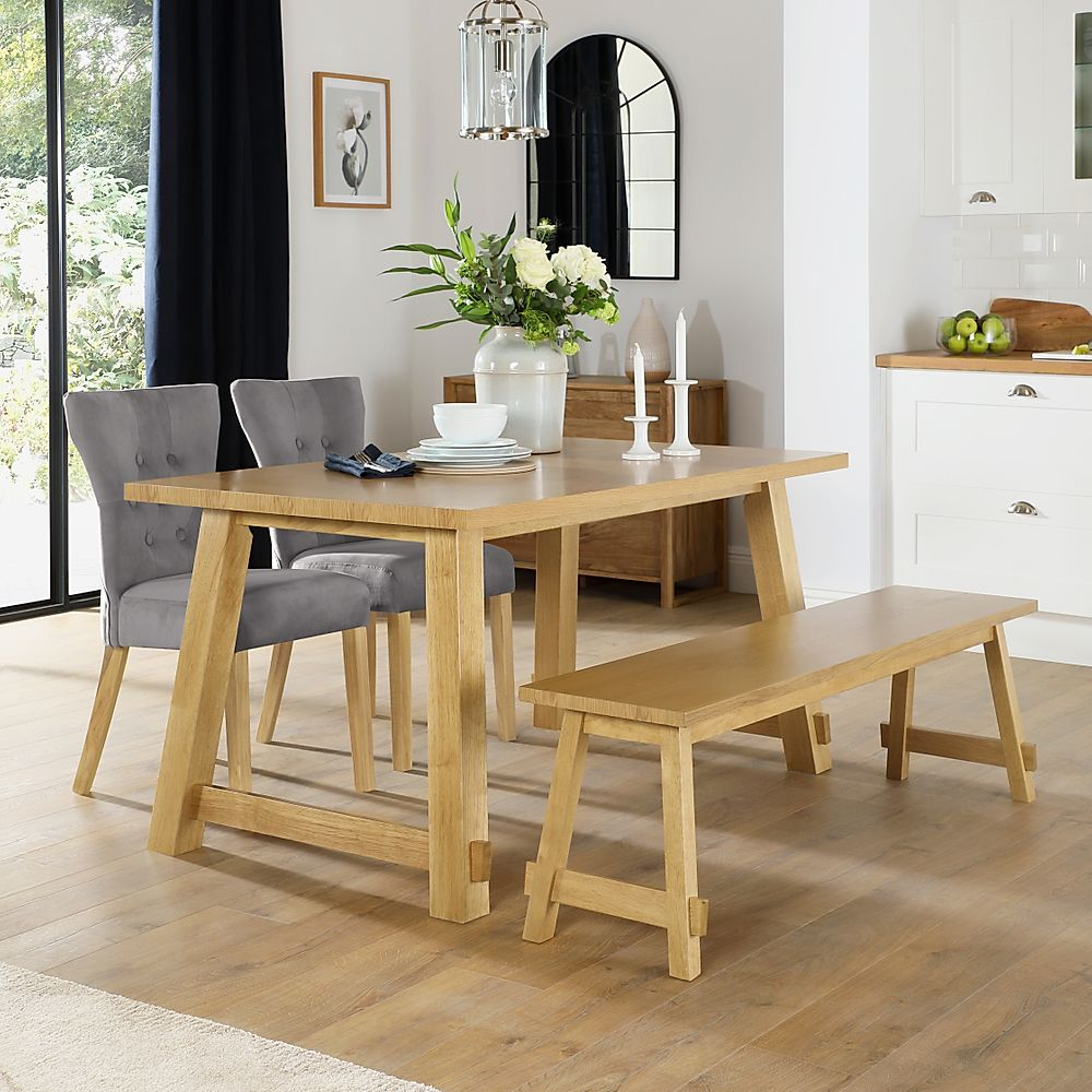 Croft Oak Dining Table and Bench with 2 Bewley Grey Velvet Chairs