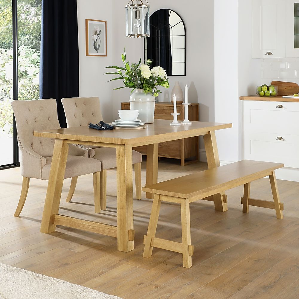 Croft Oak Dining Table and Bench with 2 Duke Oatmeal Fabric Chairs