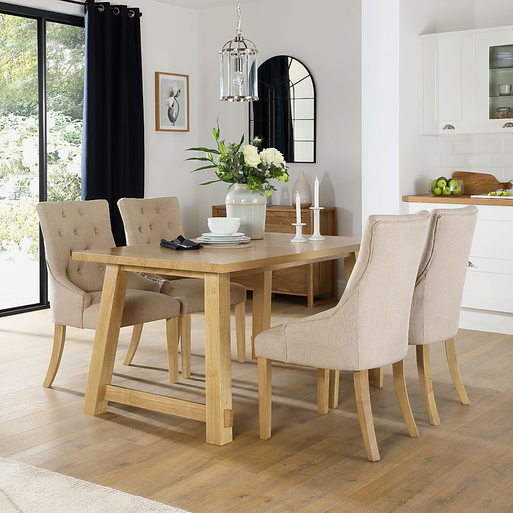 Croft Oak Dining Table with 6 Duke Oatmeal Fabric Chairs