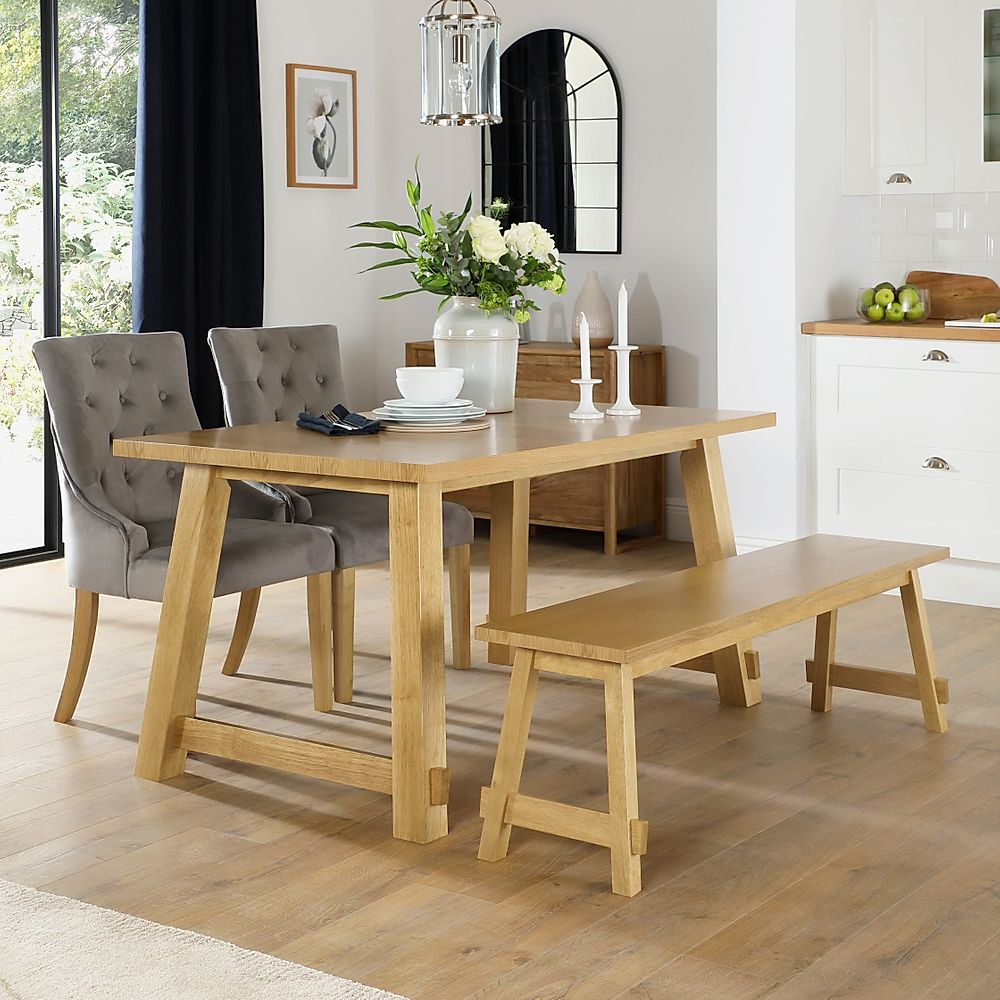 Croft Oak Dining Table and Bench with 4 Duke Grey Velvet Chairs