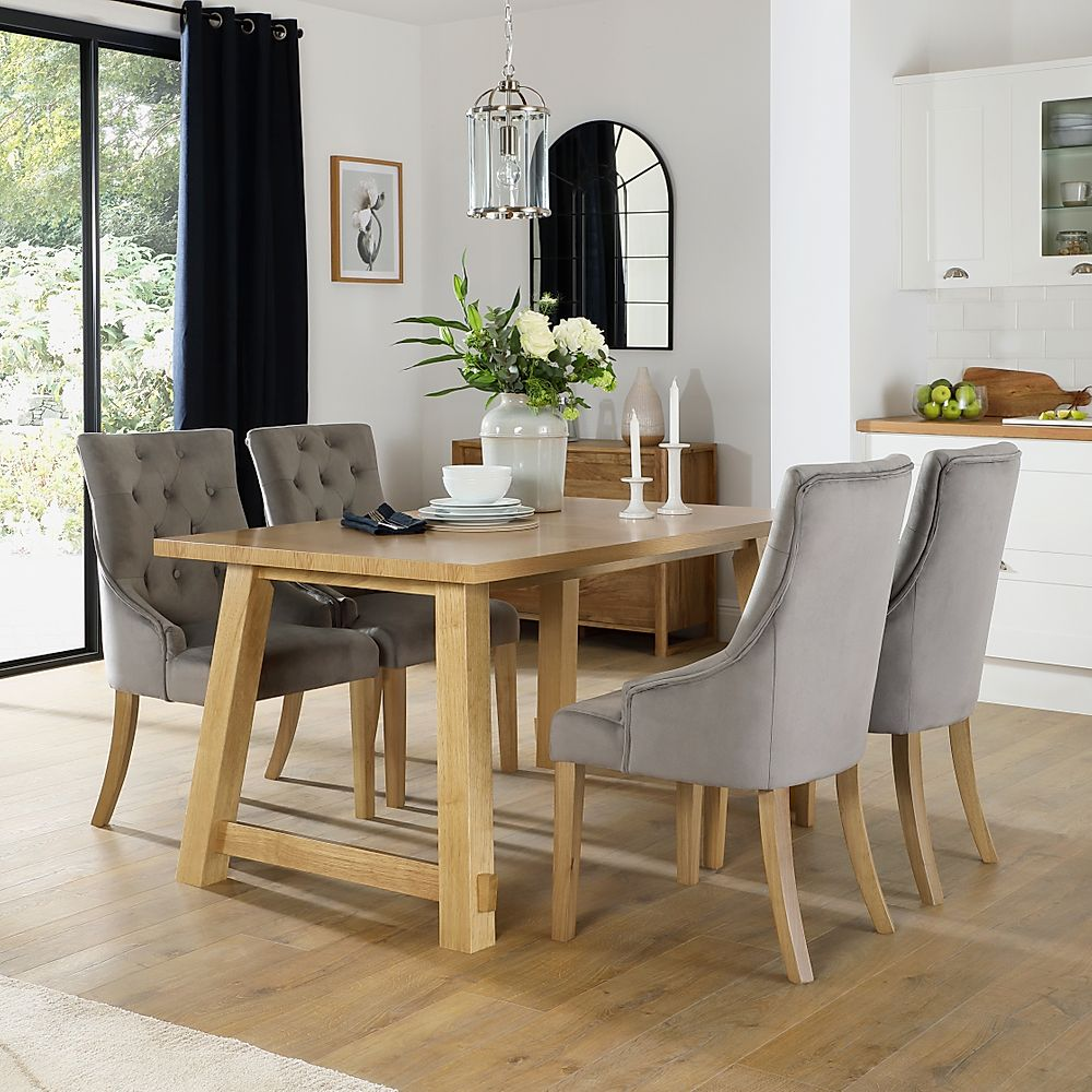 Croft Oak Dining Table with 4 Duke Grey Velvet Chairs