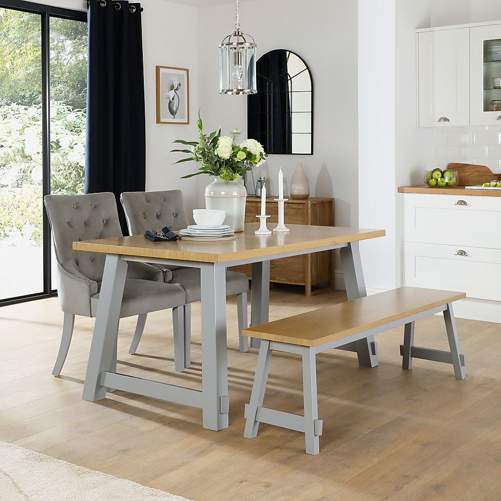 Croft Painted Grey and Oak Dining Table and Bench with 4 Duke Grey Velvet Chairs