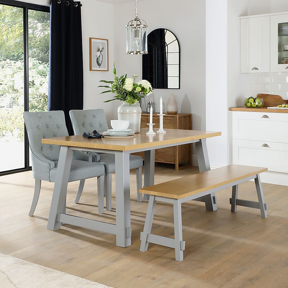 Croft Painted Grey and Oak Dining Table and Bench with 4 Duke Light Grey Fabric Chairs
