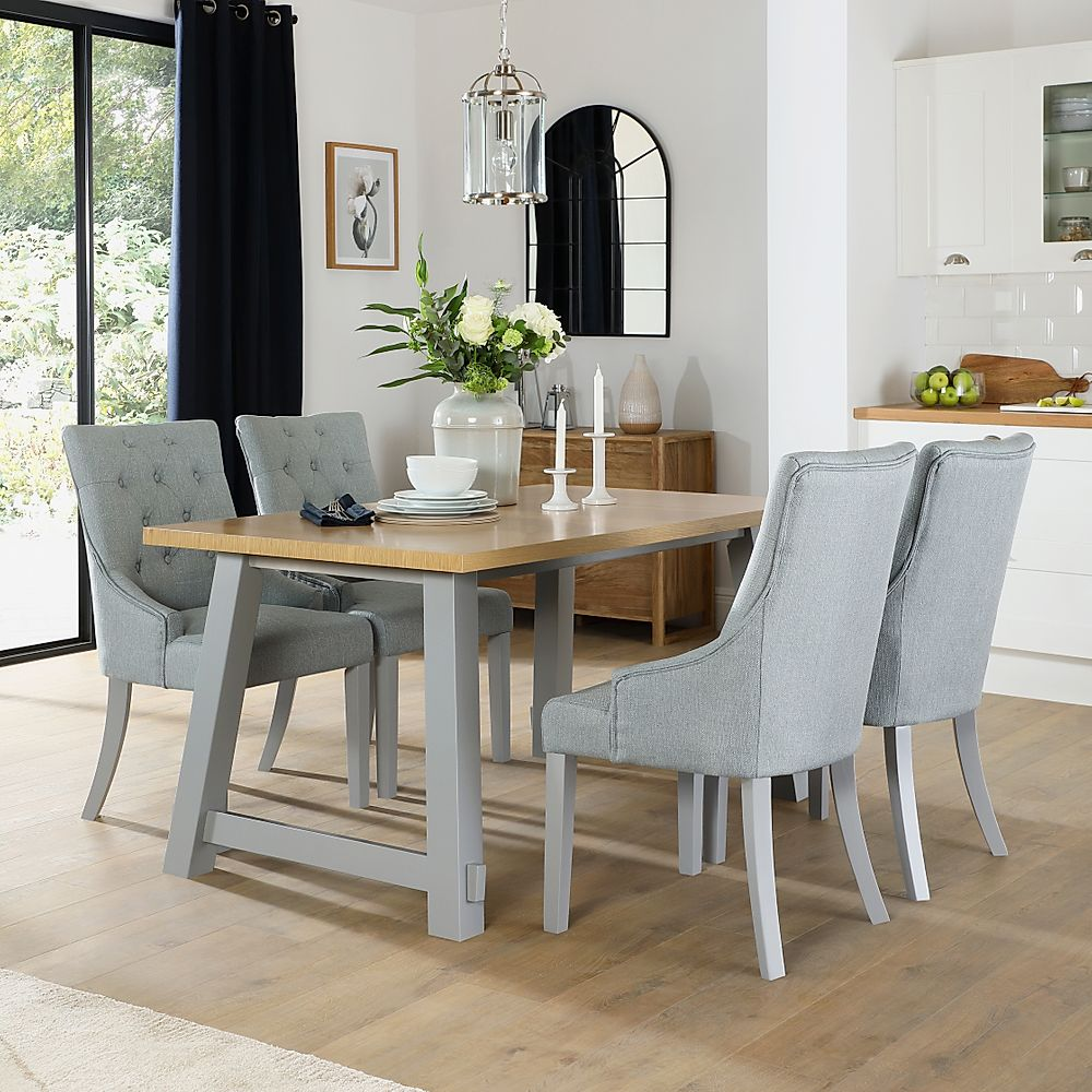 Croft Painted Grey and Oak Dining Table with 6 Duke Light Grey Fabric Chairs