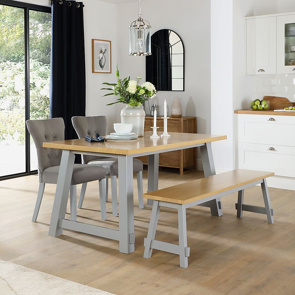 Croft Painted Grey and Oak Dining Table and Bench with 2 Bewley Grey Velvet Chairs