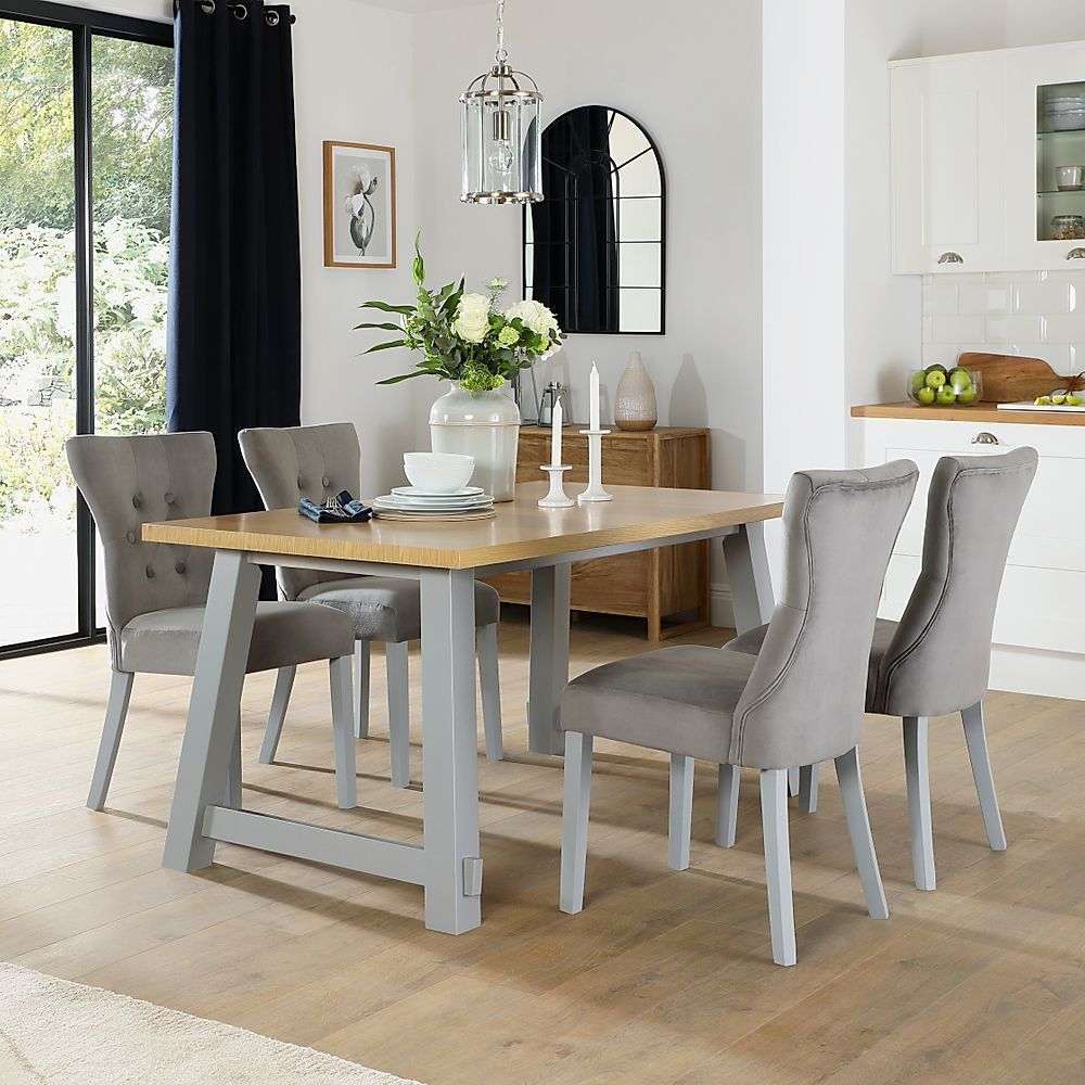 Croft Painted Grey and Oak Dining Table with 6 Bewley Grey Velvet Chairs