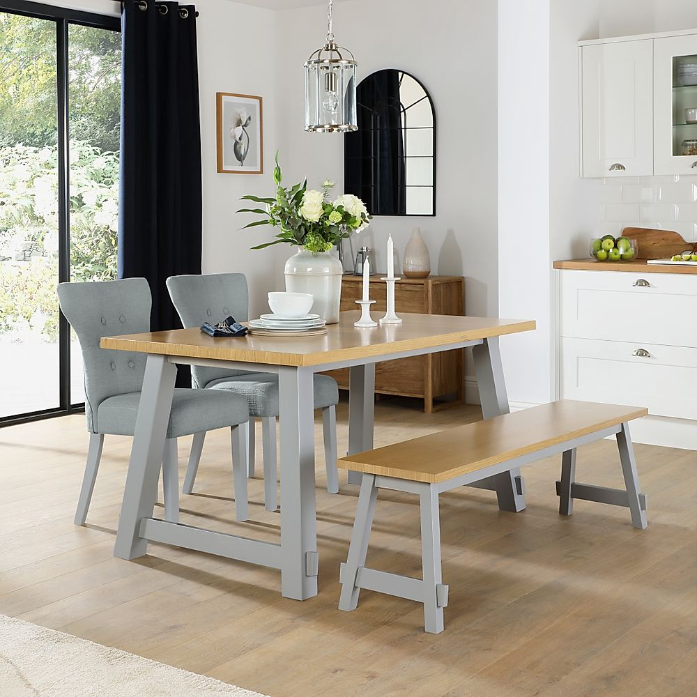 Croft Painted Grey and Oak Dining Table and Bench with 2 Bewley Light Grey Fabric Chairs