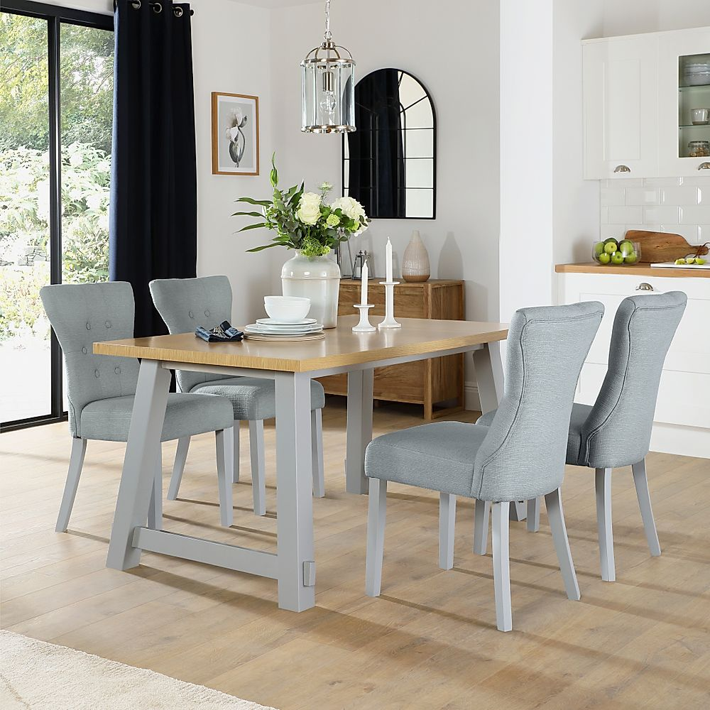 Croft Painted Grey and Oak Dining Table with 6 Bewley Light Grey Fabric Chairs