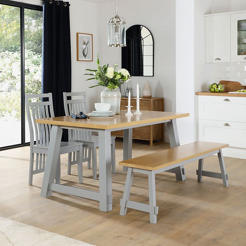 Croft Painted Grey and Oak Dining Table and Bench with 4 Java Grey Chairs