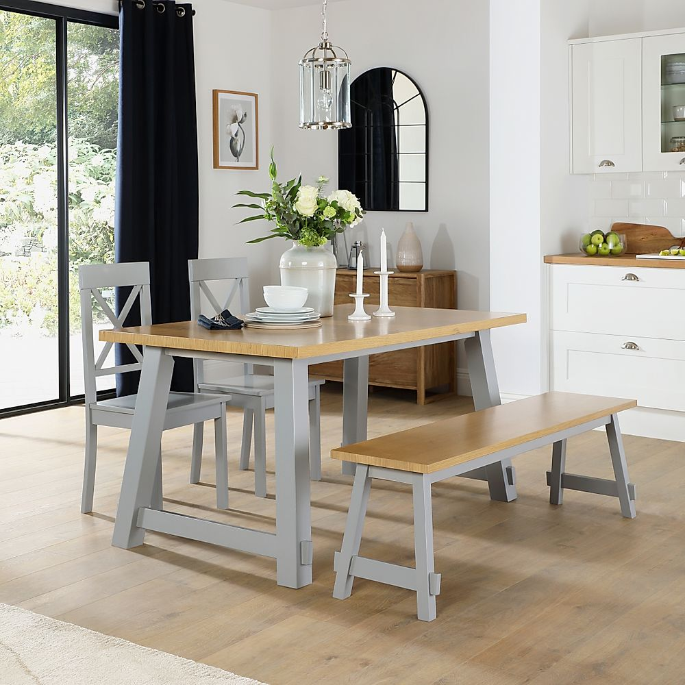 Croft Painted Grey and Oak Dining Table and Bench with 4 Kendal Grey Chairs