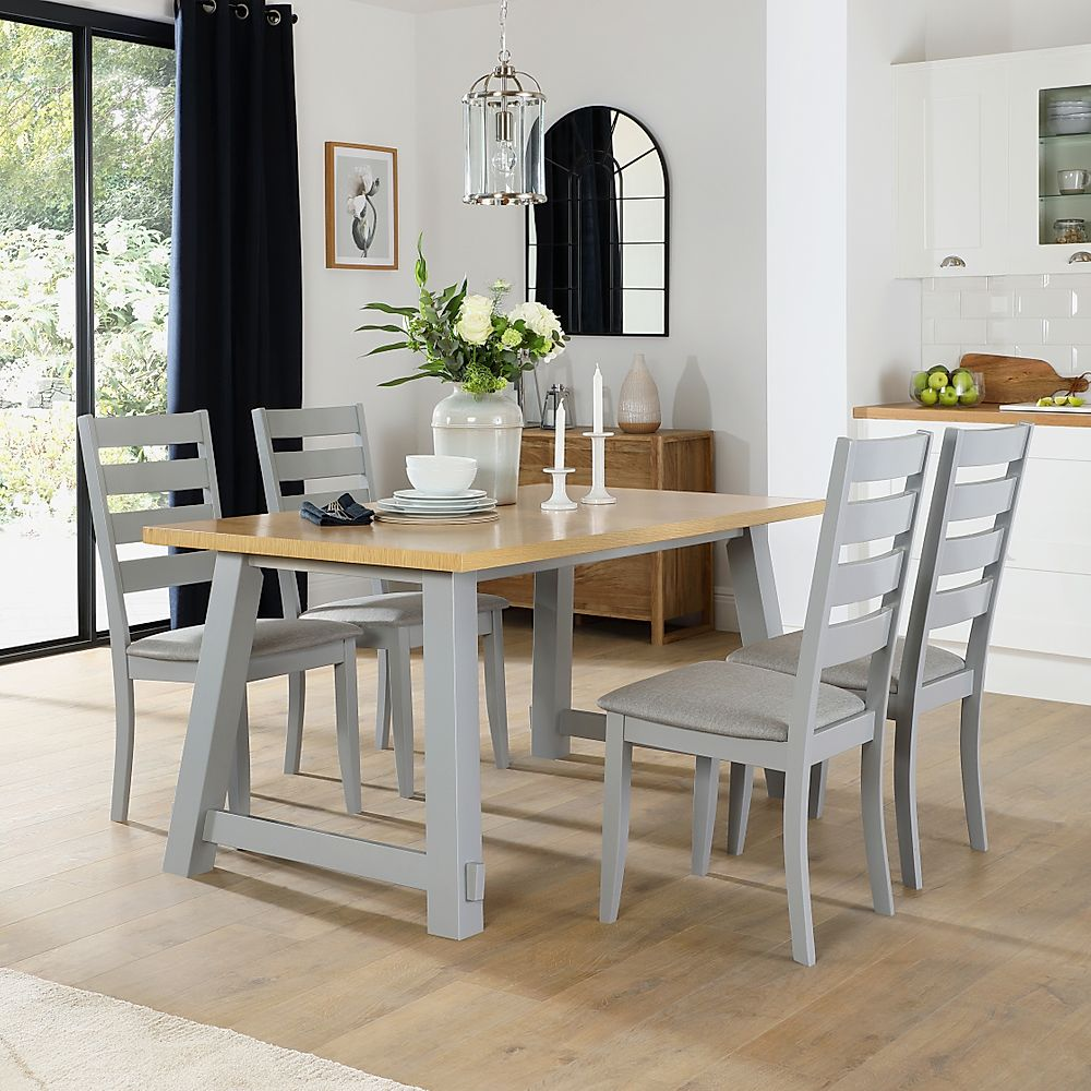 Croft Painted Grey and Oak Dining Table with 4 Grove Chairs (Grey Fabric Seat Pads)