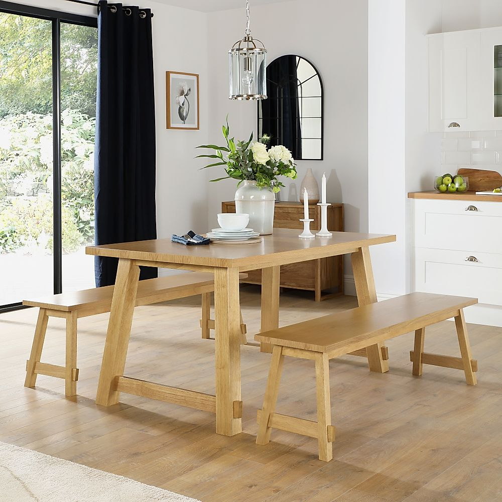 Croft Oak Dining Table and 2 Benches
