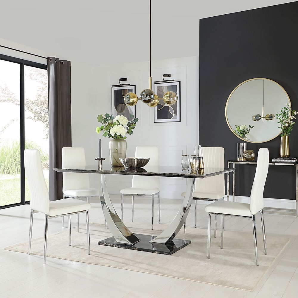 Peake Black Marble and Chrome Dining Table with 6 Leon White Leather Chairs