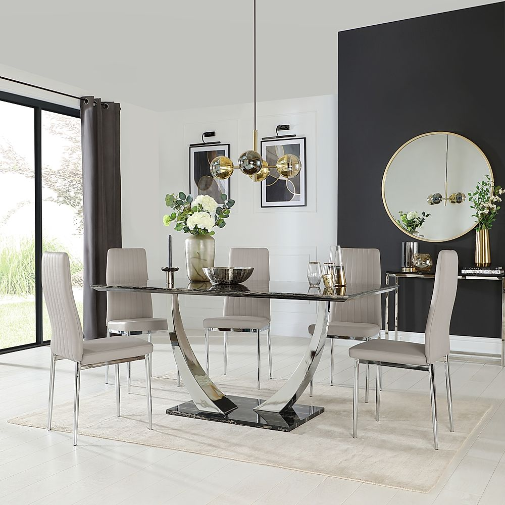 Peake Black Marble and Chrome Dining Table with 6 Leon Taupe Leather Chairs