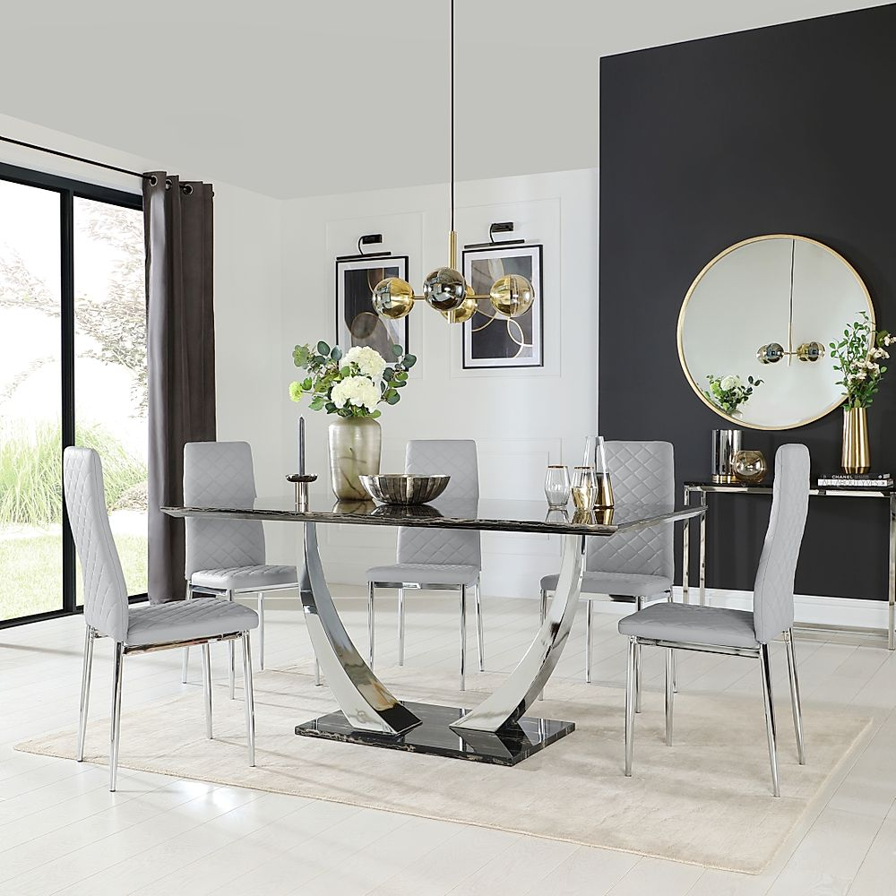 Peake Black Marble and Chrome Dining Table with 6 Renzo Light Grey Leather Chairs