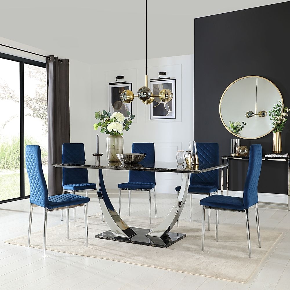 Peake Black Marble and Chrome Dining Table with 4 Renzo Blue Velvet Chairs
