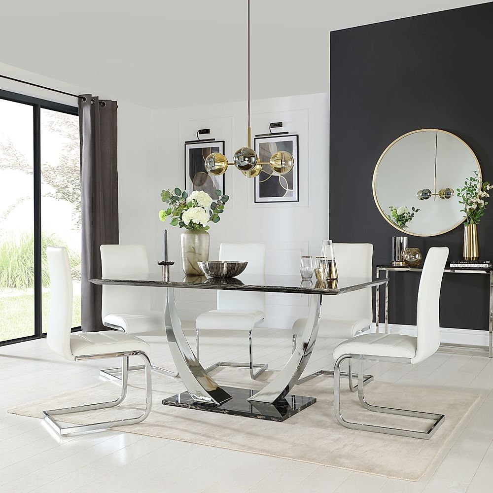 Peake Black Marble and Chrome Dining Table with 6 Perth White Leather Chairs