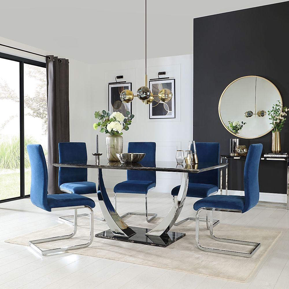 Peake Black Marble and Chrome Dining Table with 6 Perth Blue Velvet Chairs