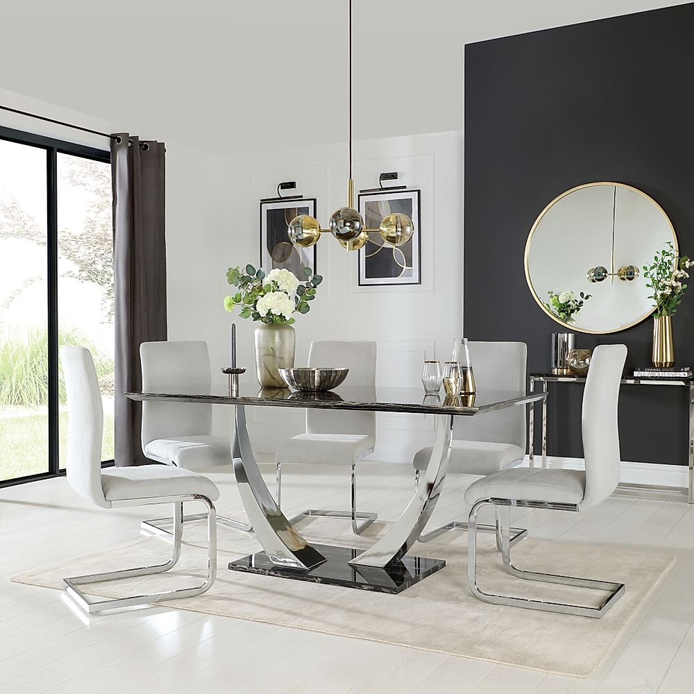 Peake Black Marble and Chrome Dining Table with 4 Perth Dove Grey Fabric Chairs