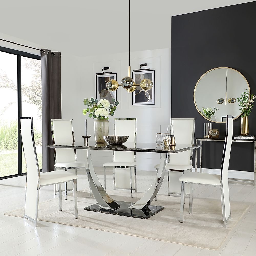 Peake Black Marble and Chrome Dining Table with 6 Celeste White Leather Chairs