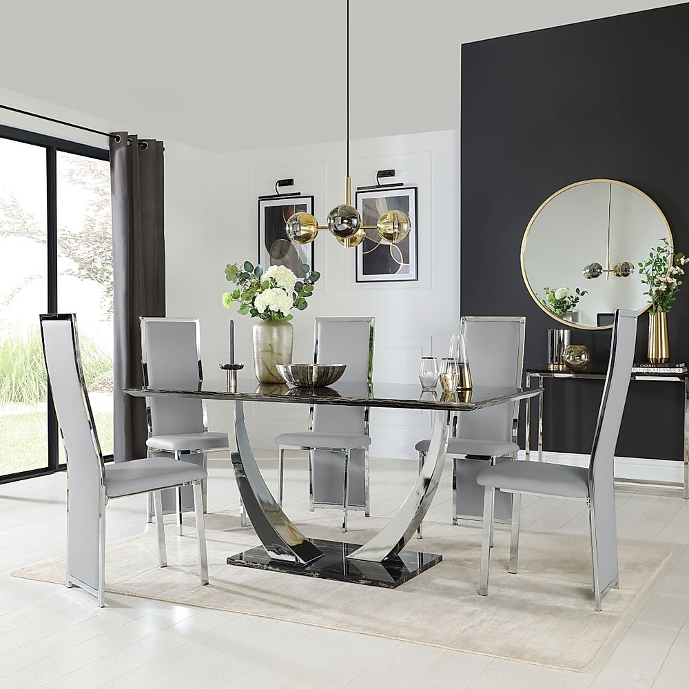 Peake Black Marble and Chrome Dining Table with 4 Celeste Light Grey Leather Chairs