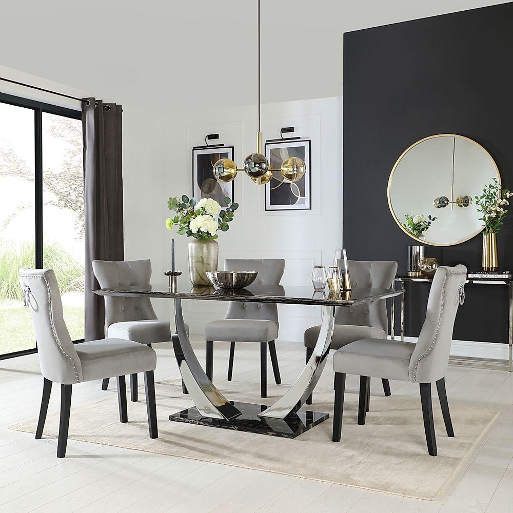 Peake Black Marble and Chrome Dining Table with 4 Kensington Grey Velvet Chairs (Black Leg)