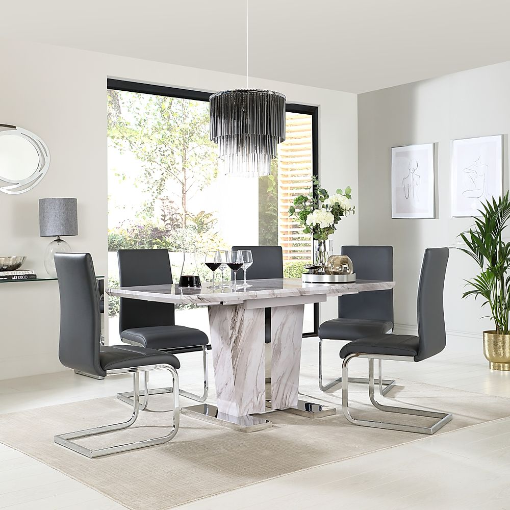 Vienna Grey Marble Extending Dining Table With 4 Perth Grey Leather Chairs Furniture And Choice