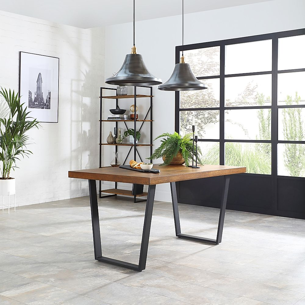 Addison Industrial Oak Dining Table And 2 Benches Furniture And Choice