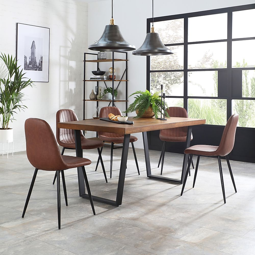 Addison Industrial Oak Dining Table With 6 Brooklyn Tan Leather Chairs Furniture And Choice