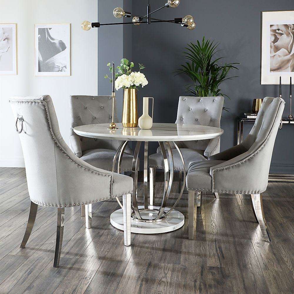 Savoy Round White Marble And Chrome, Round Marble Table Dining Set