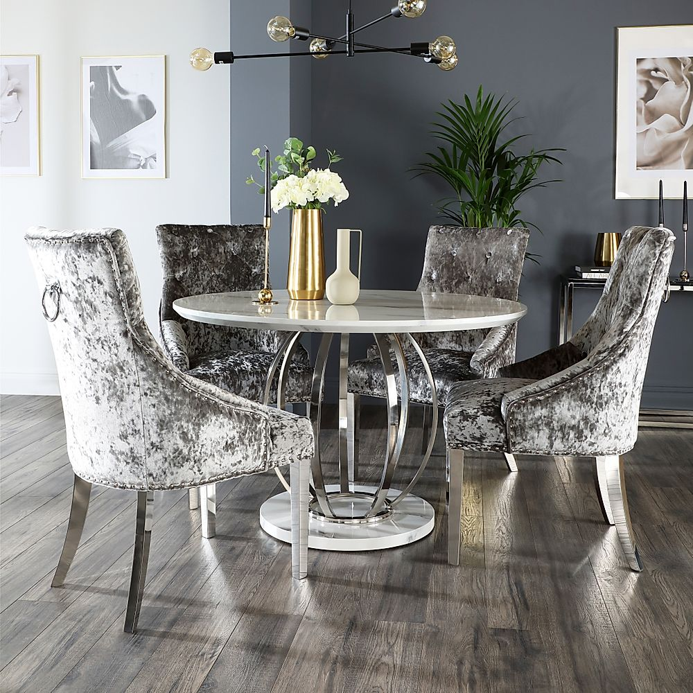 Savoy Round White Marble and Chrome Dining Table with 9 Imperial ...