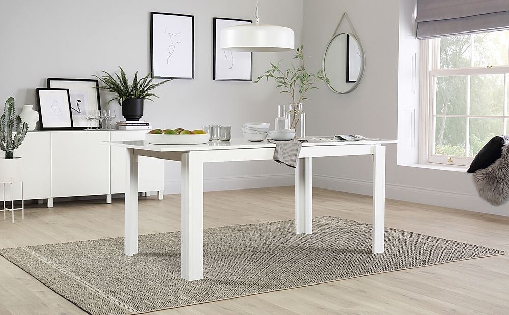 Aspen White Extending Dining Room Table - 150-180