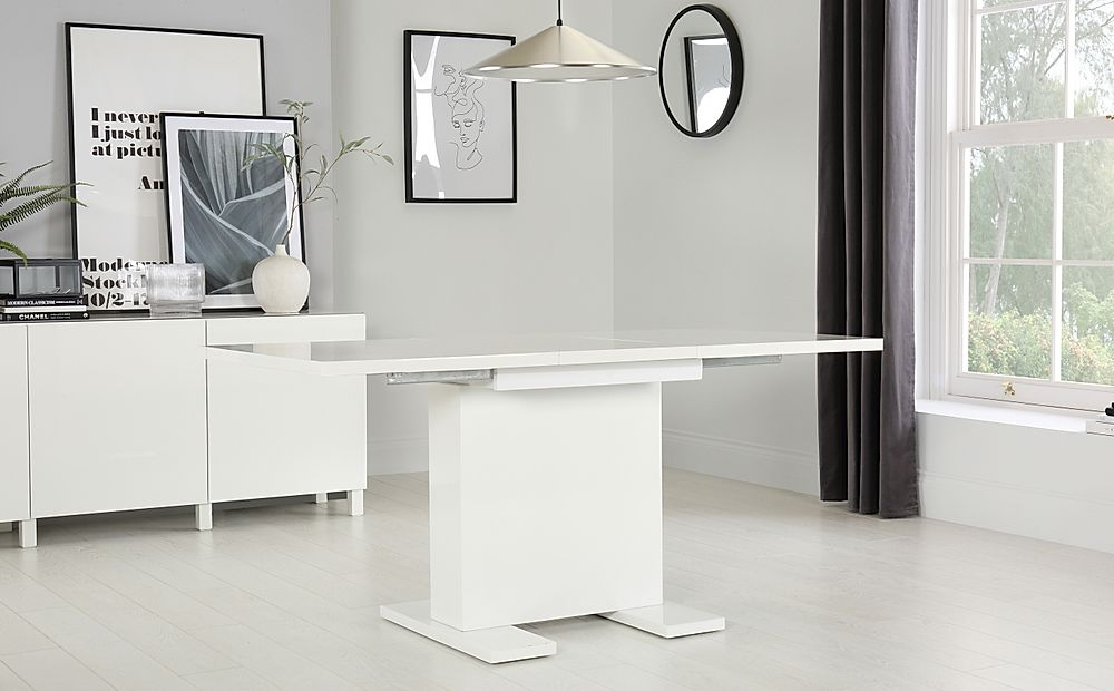 Osaka White High Gloss Extending Dining Room Table 120-160