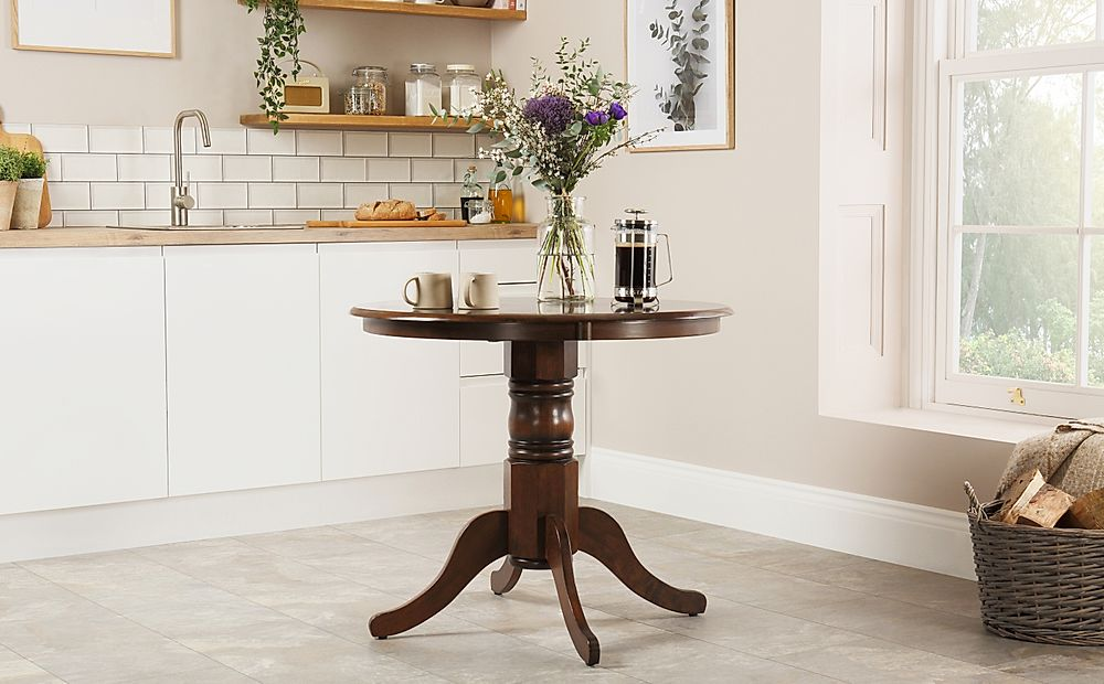 Kingston Round Dark Wood Dining Table 90cm
