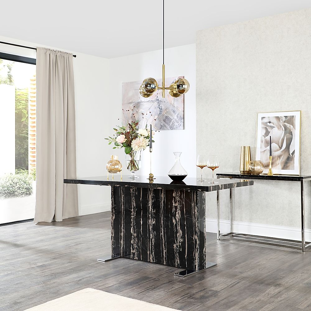 Magnus Black Marble Dining Table 160cm
