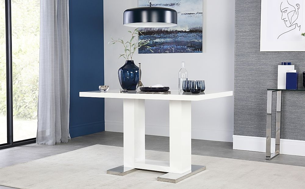 Joule White High Gloss Dining Table 120cm