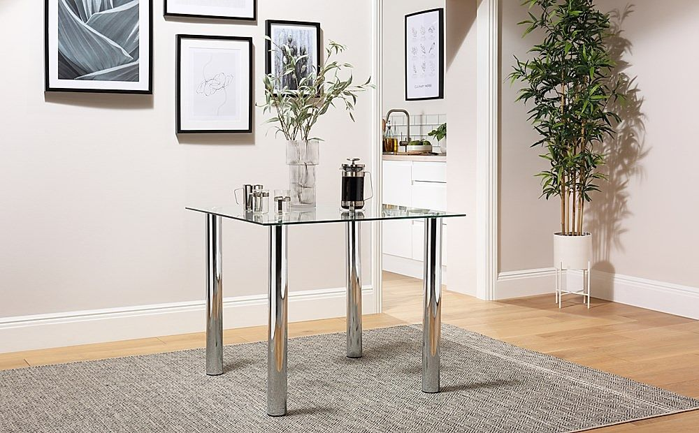 Nova Square Glass Dining Room Table 90x90 (Chrome)
