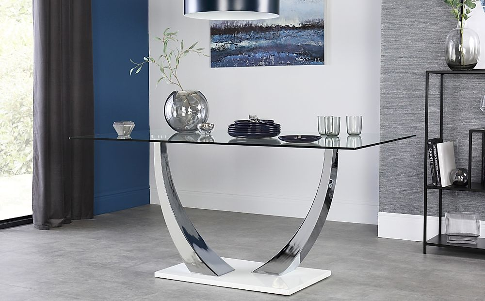 Peake Glass & Chrome Dining Table (White Gloss Base) 160cm